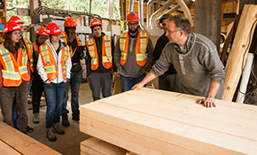 MSFM students learning about lumber quality at the sawmill in UBC's Research Forest